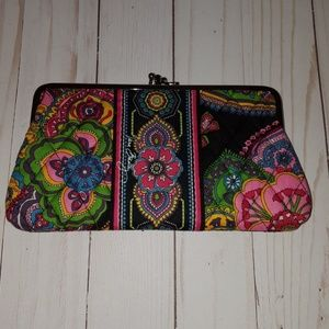 Vera Bradley black floral kiss and snap wallet